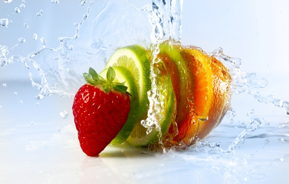 Picture water, squirt, strawberry, berry, citrus, slices