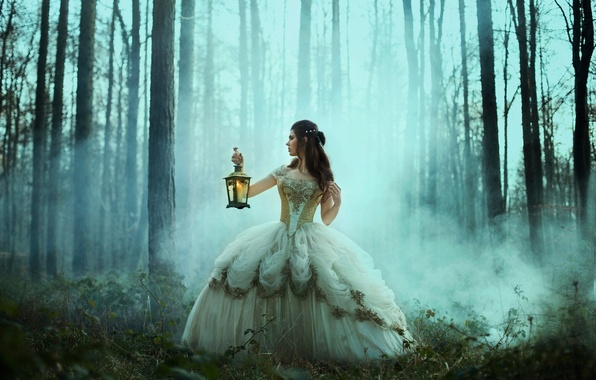 Picture forest, girl, the situation, dress, lantern, Bella Kotak