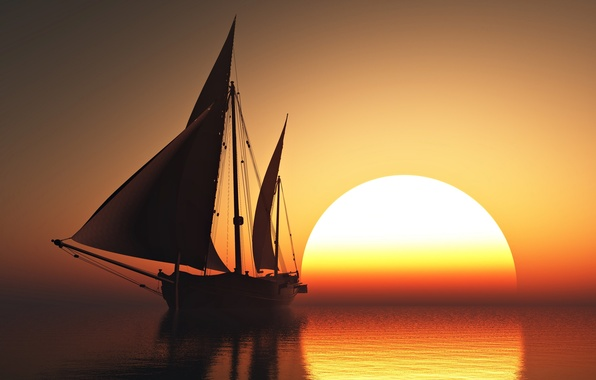 Picture sky, sea, sunset, sun, romantic, beauty, orange, boat, emotions, sailing