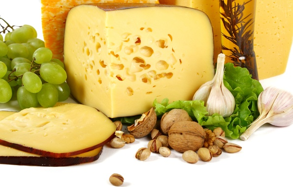 Picture cheese, grapes, nuts, nuts, garlic, pistachios, cheese, walnut