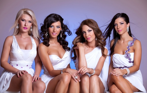 Picture white, sexy, dress, brunette, look, models, blondes