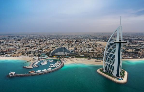Picture sea, beach, coast, building, Bay, panorama, Dubai, Dubai, UAE, Burj Al Arab, Jumeirah beach hotel, …