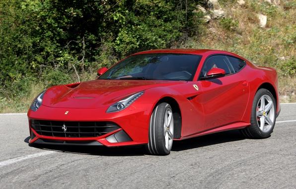 Picture road, trees, ferrari, Ferrari, the front, F12, f12 berlinetta
