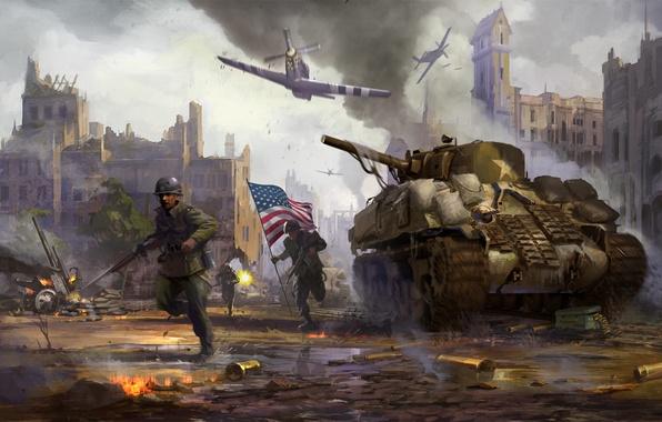 Picture the city, weapons, war, smoke, destruction, battle, flag, soldiers, tank, WW2, Sherman