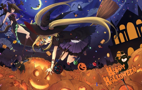 Picture girls, anime, candy, pumpkin, halloween, hats, witches, broom