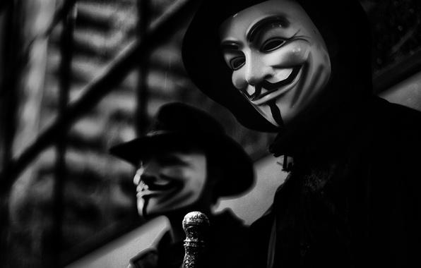 Picture photo, background, the film, Wallpaper, mask, h\b, character, V for Vendetta, V for Vendetta