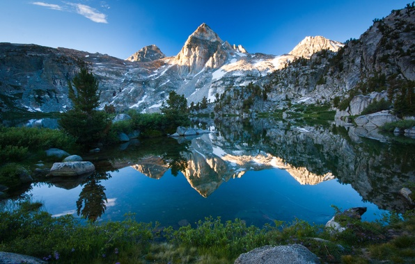 Picture the sky, nature, lake, reflection, stones, rocks, mountain