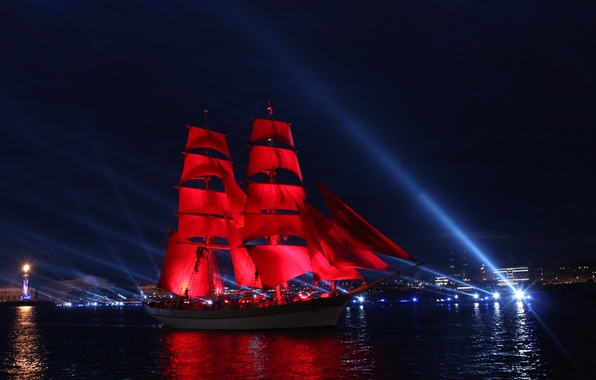 Picture Night, Ship, Saint Petersburg, Scarlet sails, Prom