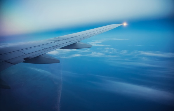 Picture sea, the sky, Islands, clouds, flight, the plane, wing, blur, sky, aircraft, flight, clouds, airplane, …