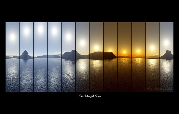 Picture sea, the sun, mountains, labels, lineup, The Midnight Sun, collage, photography