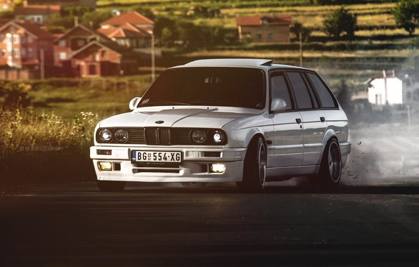 Picture BMW, BMW, white, drift, E30, universal, The 3 series, 325