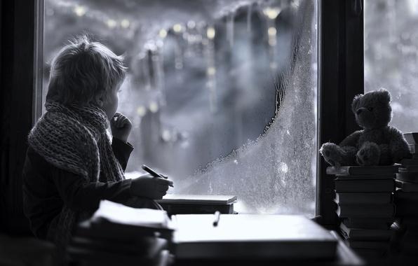 Picture winter, look, toy, books, child, boy, scarf, window, frost, bear, pencil, Elena Shumilova