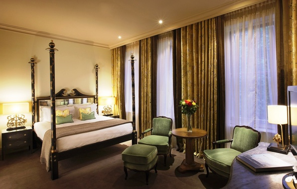 Picture flowers, design, style, room, dark green, color, lamp, bed, interior, chairs, vase, curtains, table, bedroom