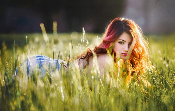 Picture field, grass, look, girl, sweetheart, meadow, red, girl, brown hair, beautiful, model, Delaiah Gonzalez