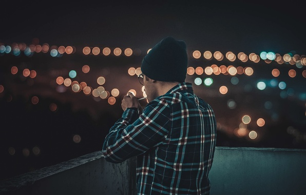 Picture night, the city, lights, guy