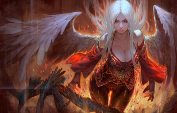 Picture girl, fiction, fire, wings, angel, red eyes, white hair, art, Angel Fall, Krenz
