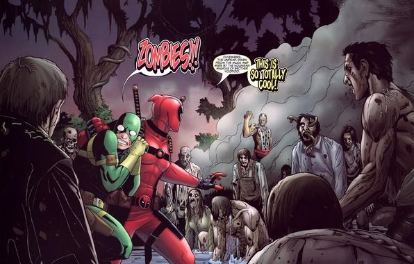 Picture fear, zombies, horror, gun, zombies, marvel, comic, comics, deadpool, heroes, ninja