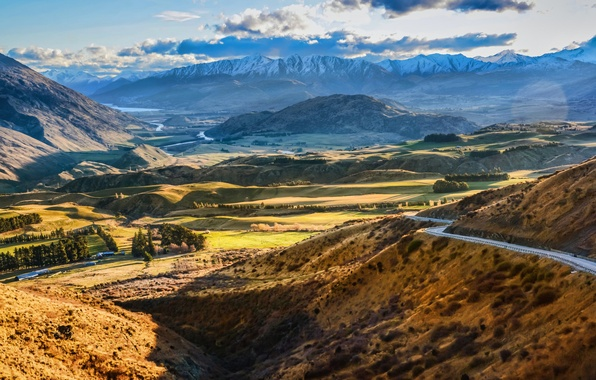 Picture road, the sky, clouds, snow, mountains, valley, hdr
