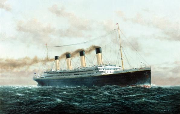 Picture The sky, Sea, Figure, Wave, Liner, Titanic, The ship, Titanic, Passenger ship, RMS Titanic, on ...