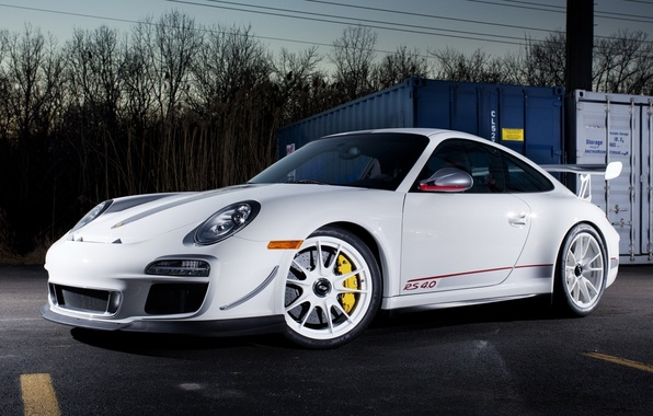 Picture white, the sky, trees, tuning, 911, supercar, porsche, Porsche, gt3, tuning, the front, GT3, 4.0