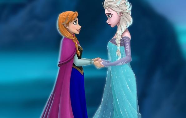 Picture Frozen, Disney, sisters, Anna, Anna, dresses, Disney, Elsa, Elsa, Cold Heart