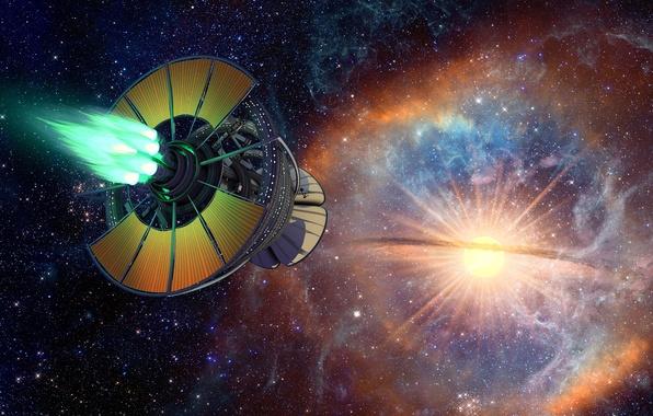 Picture stars, fiction, the universe, ship, Star Birth