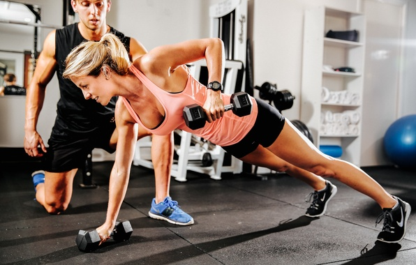 Picture pose, fitness, coach, dumbbell