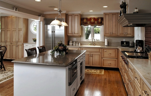 Picture table, furniture, refrigerator, kitchen, oven, sink, Studio, dining room