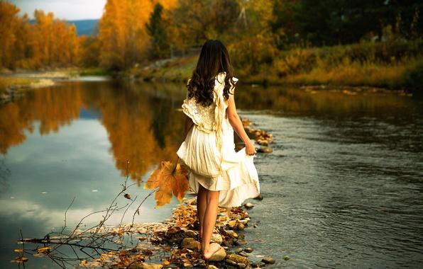 Picture girl, river, stones, dress, Lichon