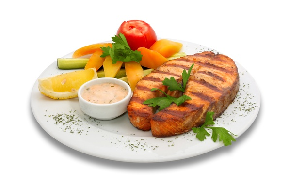 Picture fish, plate, vegetables, sauce, dish, garnish