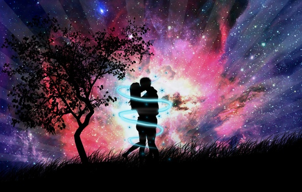 Picture grass, abstraction, tree, romance, figure, kiss, the evening, pair