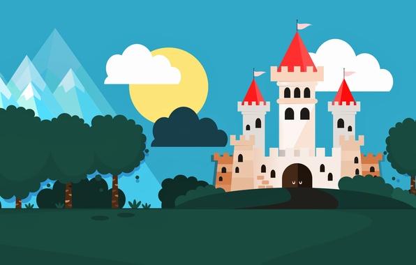 Picture clouds, trees, landscape, castle, vector