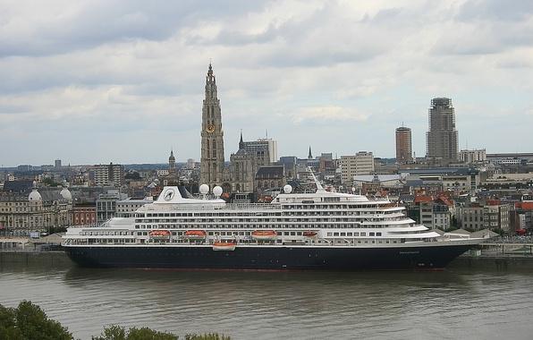 Picture the city, Belgium, liner, Belgium, cruise, cruise liner, Antwerp, Antwerp, the river Scheldt, Scheldt River