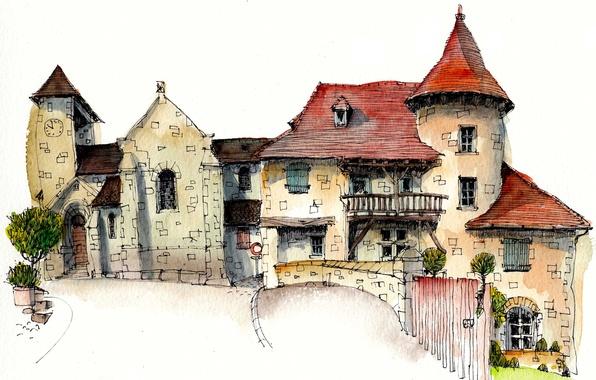Picture the city, paint, figure, France, home, Curemonte