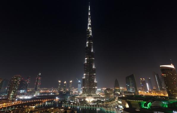 Picture the sky, water, night, home, skyscrapers, pool, tower, Dubai, Dubai, UAE, Burj Khalifa