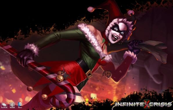 photo wallpaper christmas costume harley quinn infinite crisis