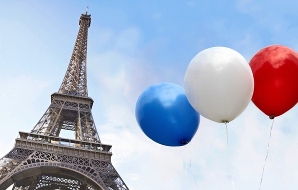 Picture white, the sky, blue, red, the city, balloons, France, Paris, Eiffel tower, Paris, France