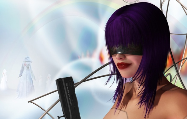 Picture girl, gun, weapons, wire, glasses, Android, purple hair