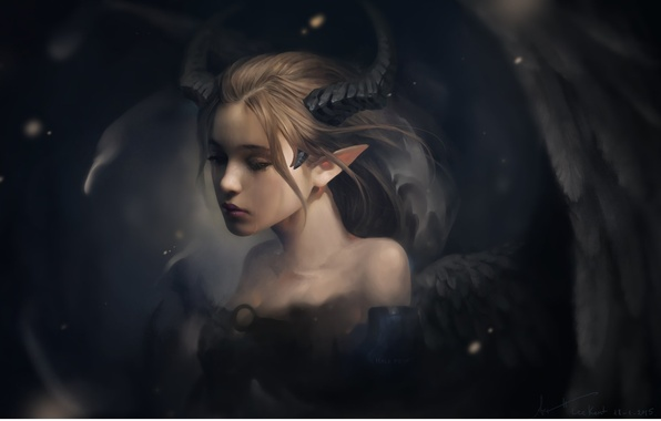 Picture sadness, girl, mood, wings, fantasy, art, tear