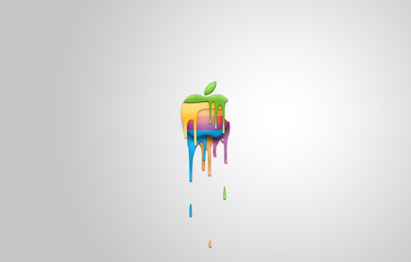 Picture apple, stains, white background, melting