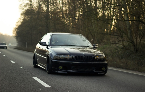 Picture road, BMW, black, E46, stance