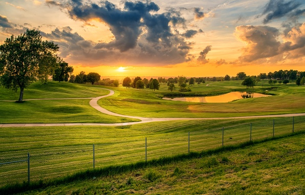 Picture road, greens, field, the sky, grass, clouds, trees, sunset, pond, the fence, meadow, Missouri, USA, …