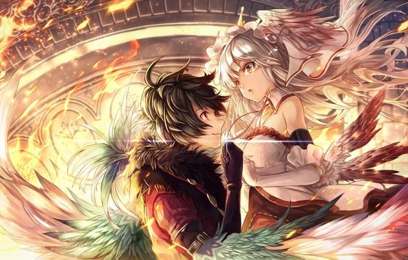 Picture girl, fire, magic, wings, anime, art, guy, dearrose