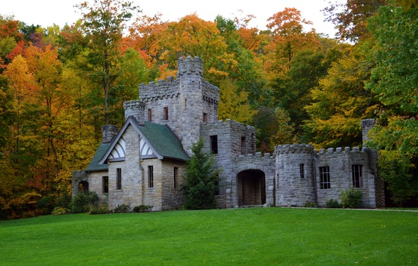 Picture autumn, forest, grass, trees, castle, glade, USA, Squires Castle