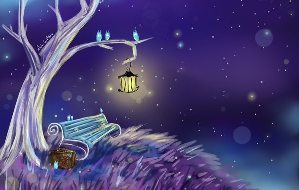 Picture light, bench, night, tree, lantern, suitcase, painting