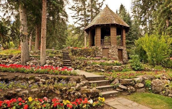 Picture trees, flowers, stones, garden, Canada, track, steps, gazebo, the bushes, Banff, Cascade Gardens