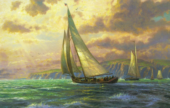 Picture sea, wave, sail, painting, sea, Thomas Kinkade, sailboats, painting, Thomas Kinkade, New horizons, New Horizons