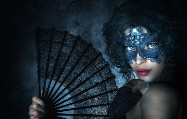 Picture look, girl, rendering, hand, mask, fan