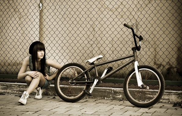 Picture girl, bike, the fence, bmx