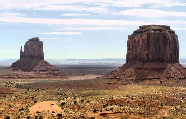 Picture sand, the sky, mountains, desert, Utah, Monument Valley, Monument valley
